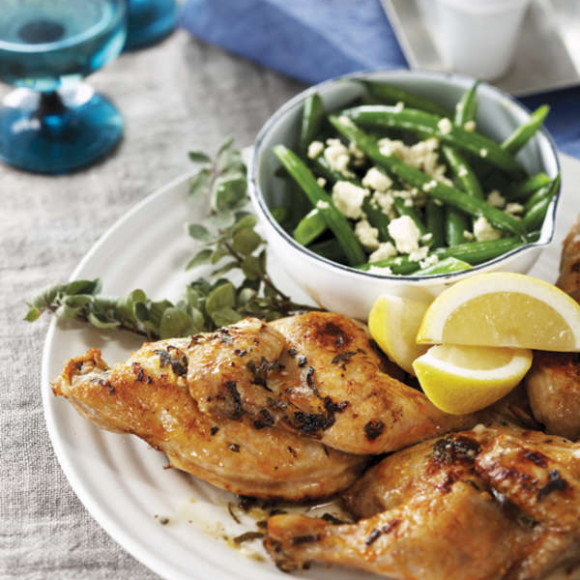 Greek Lemon Spatchcock with Beans and Feta