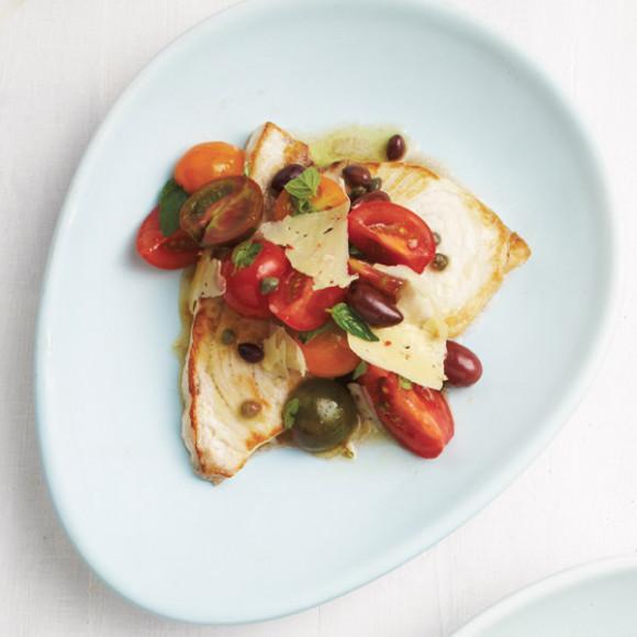 Swordfish with Sicilian Tomato, Olive and Chilli Pecorino Salad