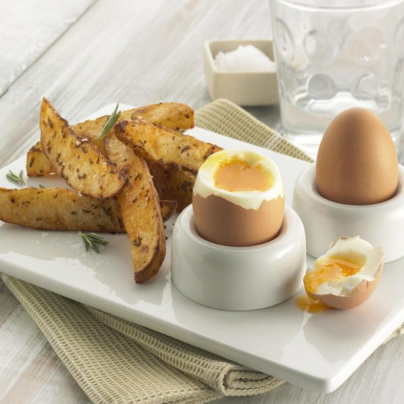 Soft Boiled Eggs and Baked Potato Wedges