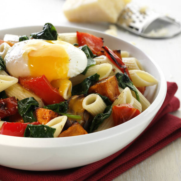 Pasta with Roasted Vegetables & Poached Egg Recipe | myfoodbook