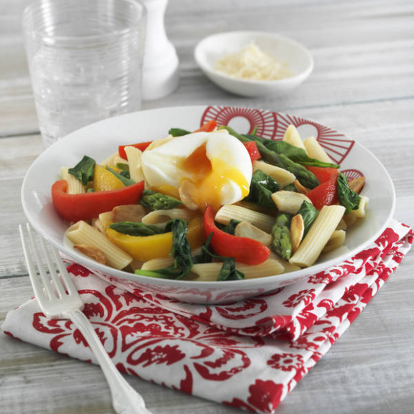 Spinach and Asparagus Pasta with Soft Boiled Egg