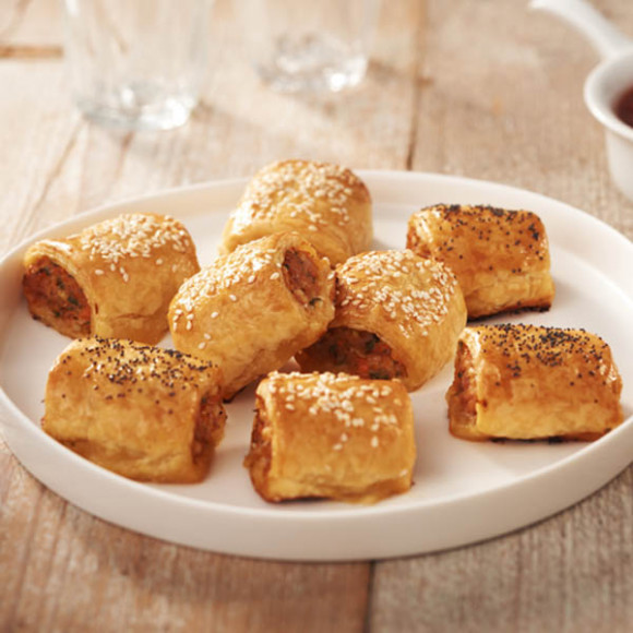 Chicken Bacon and Cheddar Sausage Rolls recipe