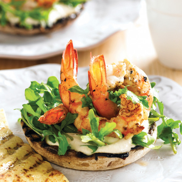 Barbecue Lemon & Oregano Mushrooms with Prawns
