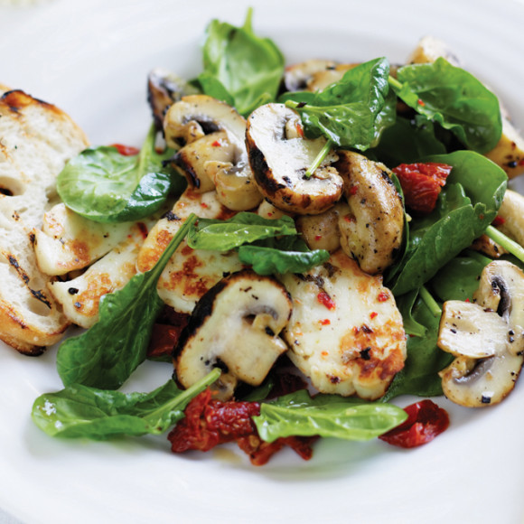 Greek-style Mushrooms with Haloumi
