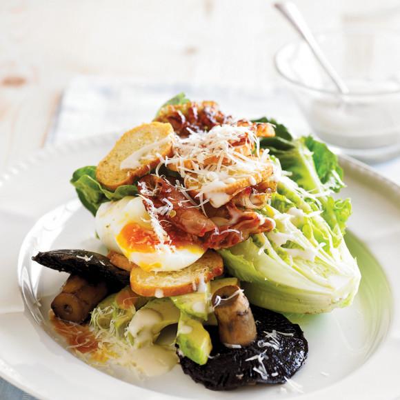 Mushroom & Avocado Caesar Salad