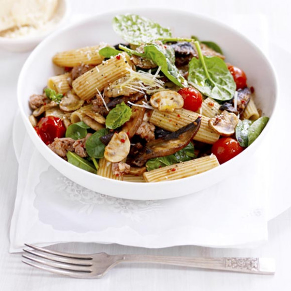Mushrooms, Sausage & Spinach Rigatoni