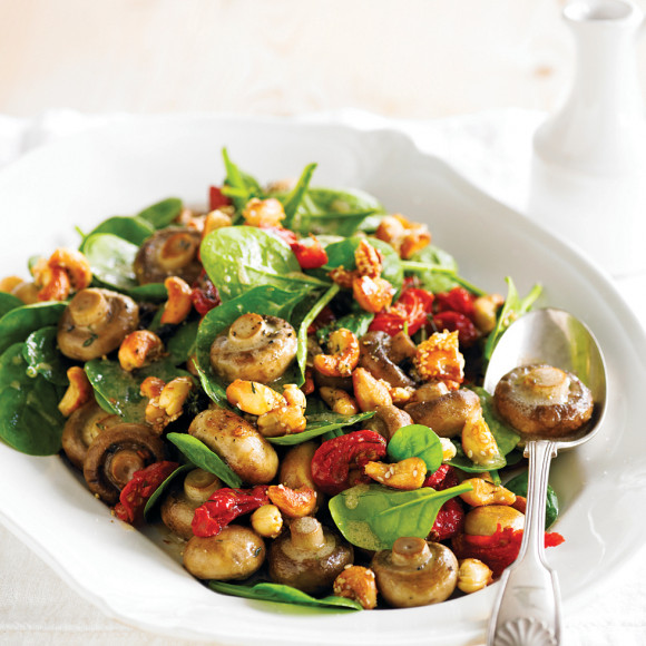 Roasted Mushrooms, Tomato & Cashew Salad