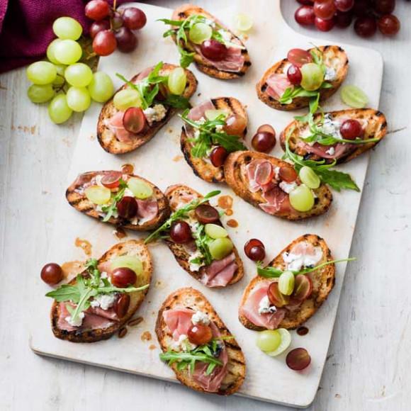 Grape and Prosciutto Crostini