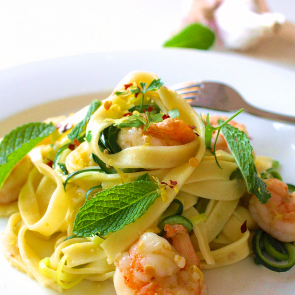 Summer Fresh Prawn, Zucchini & Mint Pasta