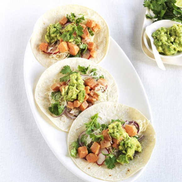 Ocean trout ceviche tacos with rough guacamole