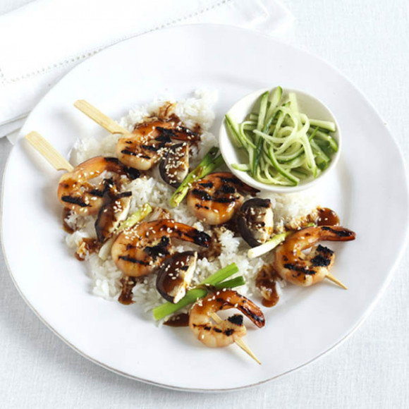 Sticky sesame-ginger-soy prawn skewers