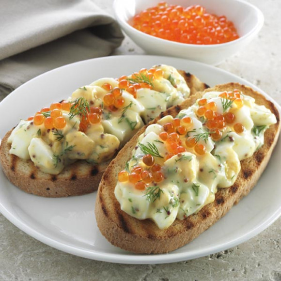 Egg Bruschetta with Salmon Roe and Dill