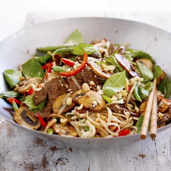 Mushroom, Beef and Basil Stir-fry