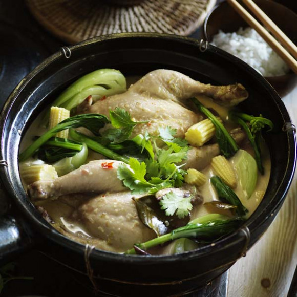 Coconut Poached Spatchcock with Asian Greens and Baby Corn