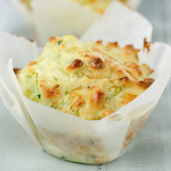 Cheesy Corn and Zucchini Muffins