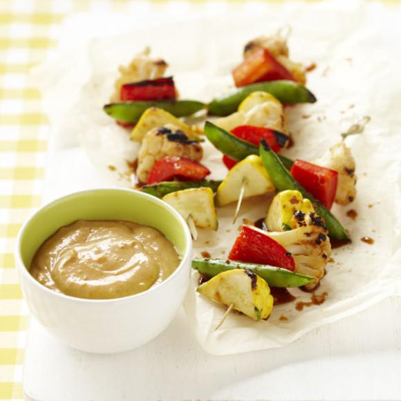 Vegetable Skewers with Satay Yoghurt Sauce recipe