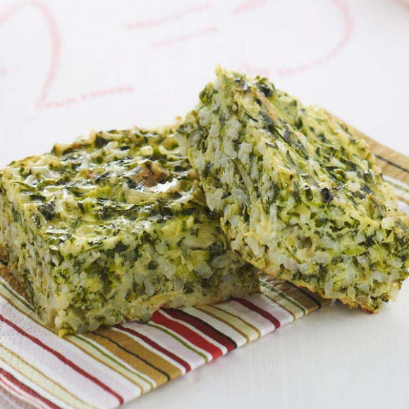 Cheese, Spinach and Zucchini Rice Slice
