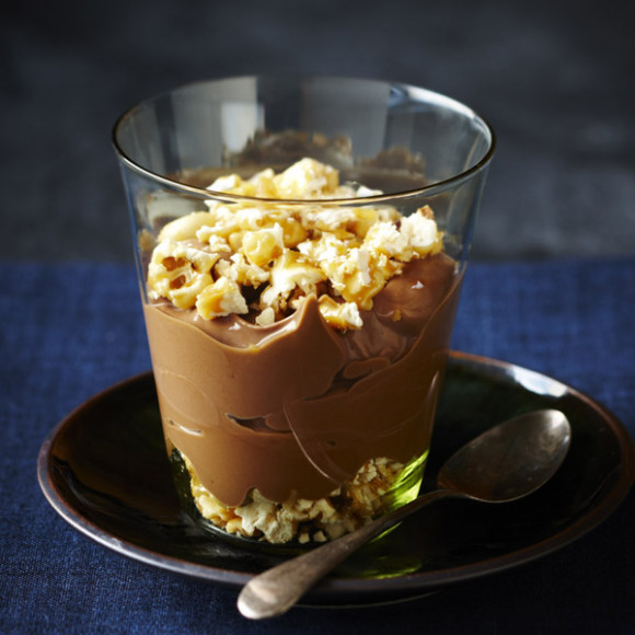 Chocolate Pots with Crushed Caramel Peanut Popcorn
