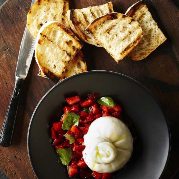 Burrata with Strawberry and Basil Salsa