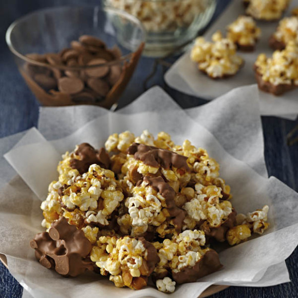 Chocolate Dipped Salted Caramel Popcorn Clusters