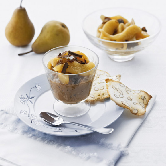 Dark Chocolate Rice Pudding with Rum 'n' Raisin Pears   myfoodbook