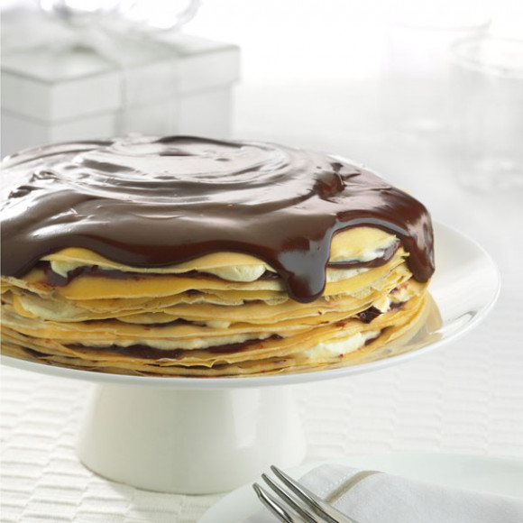 Chocolate Hazelnut Crepe Cake with Chocolate Sauce