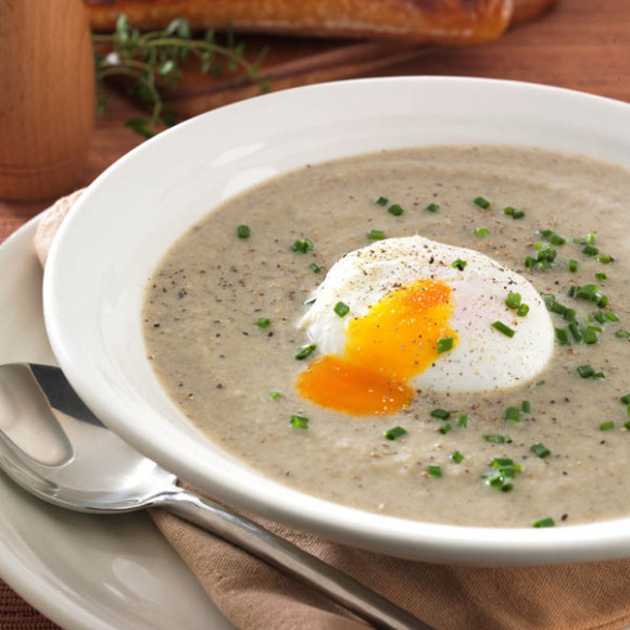 Creamed Mushroom Soup with Poached Egg, Thyme and Chives
