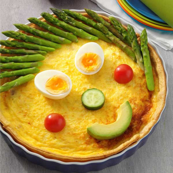 Funny Face Ham, Leek and Swiss Cheese Quiche