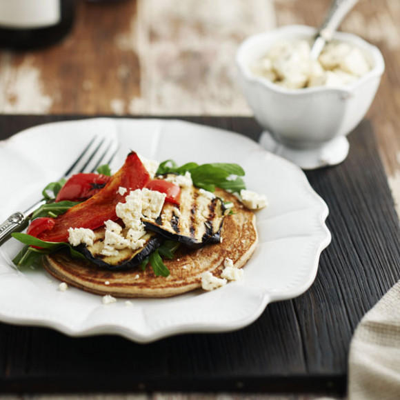 Buckwheat Pancakes with Grilled Vegetables and Feta