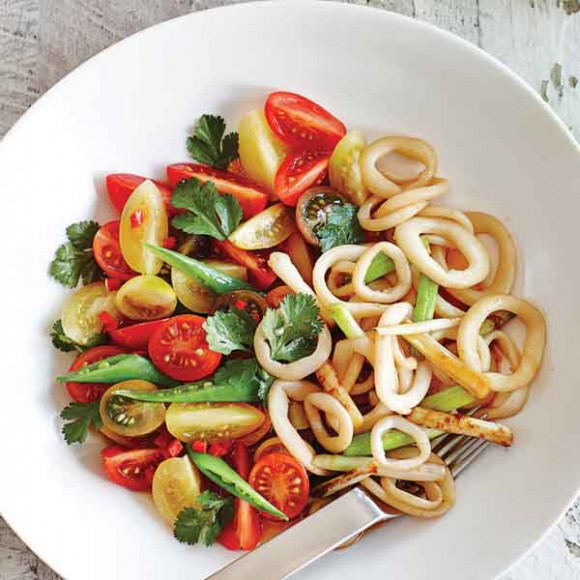 Teriyaki Calamari Stir Fry with Snow Pea Salad