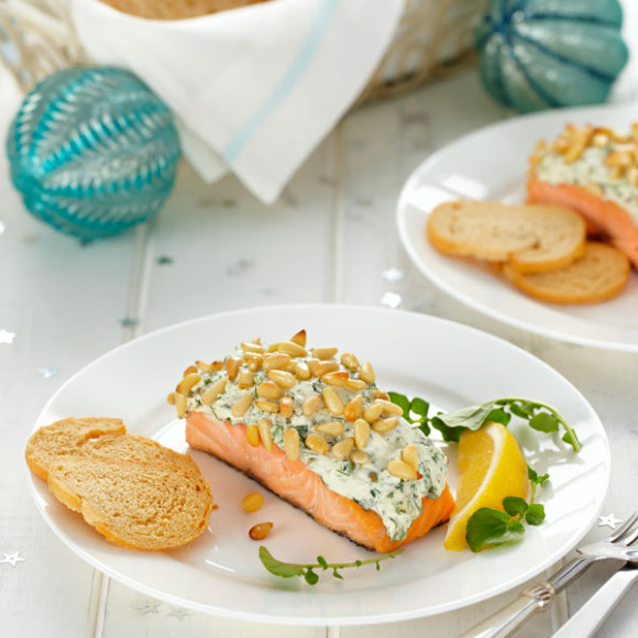 Hot Smoked Salmon with Herb and Pine Nut Crust