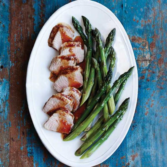 Marinated Pork Tenderloin with Steamed Asparagus