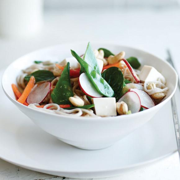 Tofu, Vegetables & Soba Noodle Salad with a Miso & Ginger Dressing