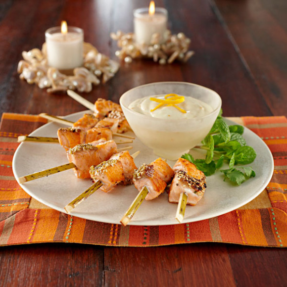 Moroccan Salmon Skewers with Citrus Mayo