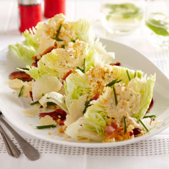 Iceberg Wedges with Prosciutto and Rosemary Butter Dressing