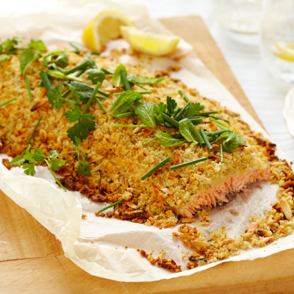 Whole Atlantic Salmon Fillet with Almond, Thyme and Lemon Crust Recipe ...