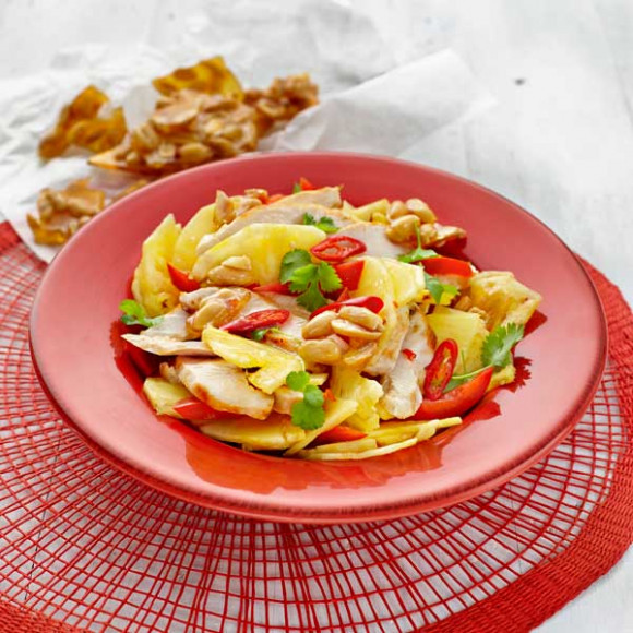 Spicy Chicken and Pineapple Salad with Candied Peanuts
