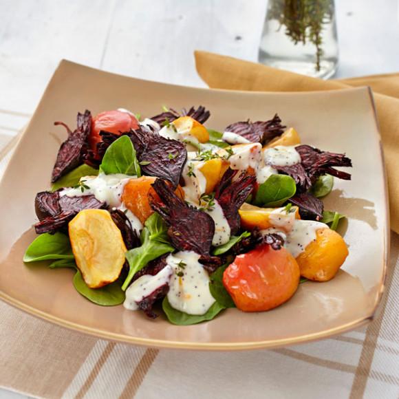 Roast Beetroot and Apple Salad with Orange Poppy Seed Mayonnaise