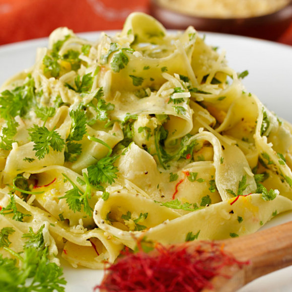 Saffron Pasta with Lemon Chervil Sauce