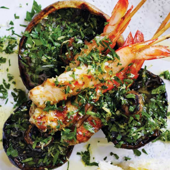 Barbecued Flat Mushrooms with Prawns