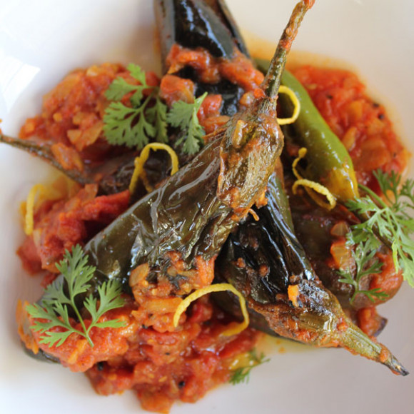 Baby eggplant with tomato and masala spices
