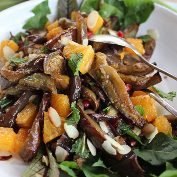 Honey roasted eggplant salad