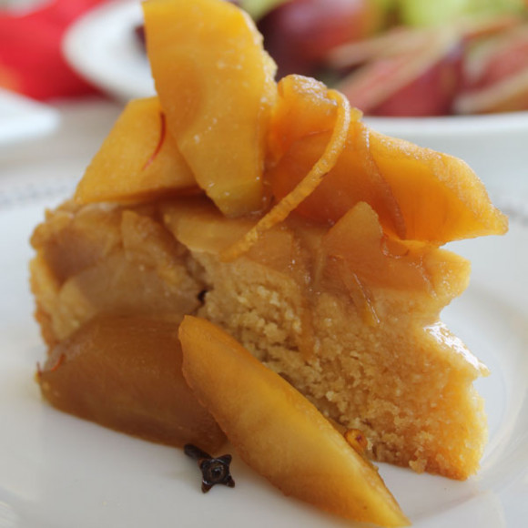 Spiced apple, saffron and polenta cake