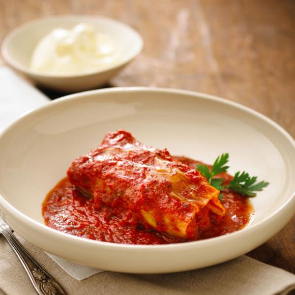 Pork & Rice Cabbage Rolls in Tomato Concasse