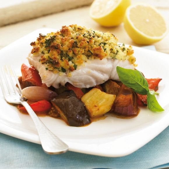 Parmesan crusted baked fish with ratatouillle recipe for Baked parmesan fish