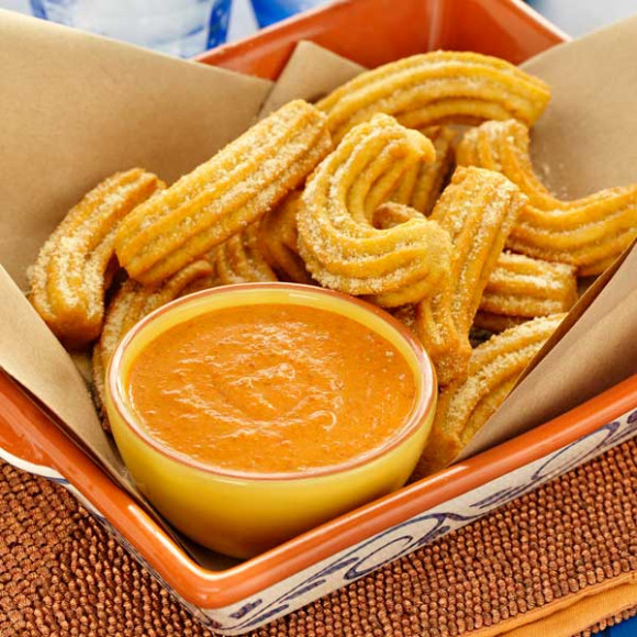 Savoury Cheese Curry Churros With Creamy Romesco Sauce