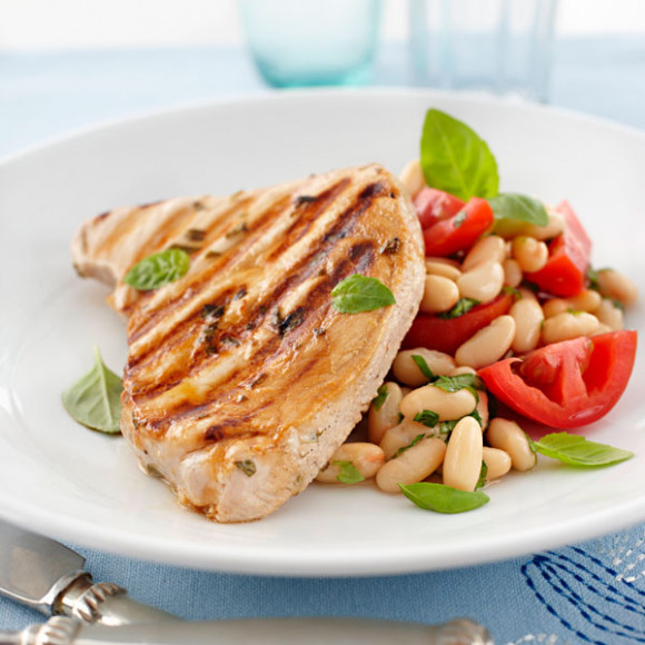 Chargrilled Fish Steaks with White Bean Salad