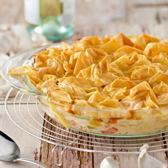 Creamy Garlic Seafood Pot Pie