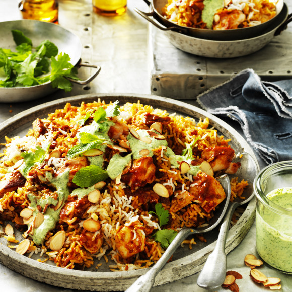 Chicken biryani with creamy coriander and mint sauce recipe chicken biryani with creamy coriander and mint sauce forumfinder Image collections