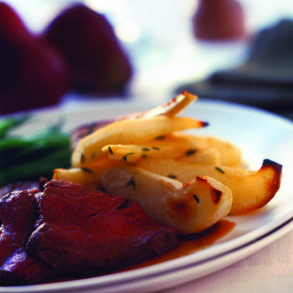 Roasted Pears and Parsnips with Beef Fillet